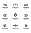 set of black linear eye icons vector image