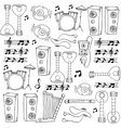 Hand draw music tools in doodle vector image
