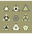 green geometric tribal triangle icons set vector image vector image