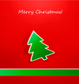 christmas card with green paper tree vector image