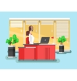 Operator in a call center vector image vector image