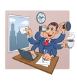 Busy businessman at office vector image