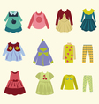 collection of children clothing - vector image