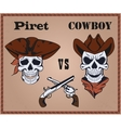 Confrontation pirate against cowboy vector image