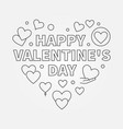 happy valentines day heart line vector image