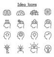 idea creative icon set in thin line style vector image