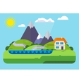 landscape house in mountains vector image