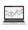 modern laptop with graph on screen finance vector image