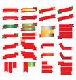 red ribbon and gold ribbon set vector image