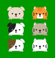 Set of cute dog and cats vector image