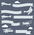Silhouettes of biplanes with wavy greetings banner vector image