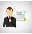 reporter man weather forecast newspaper design vector image