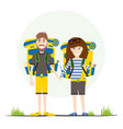 tourists with backpacks isolated on white vector image vector image