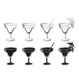 Set Glasses Black Contours and Silhouettes vector image vector image