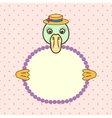 Duck holding banner card in paws Birthday vector image
