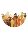 different race hands rased up vector image