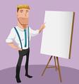 Man Cartoon Handsome Worker Presentation vector image