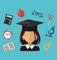 back to school set of flat simple design icons vector image