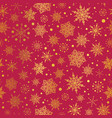golden and red snowflakes seamless repeat vector image