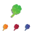 Leaf clover sign Colorfull applique icons set vector image
