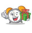 with gift alarm clock mascot cartoon vector image