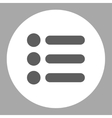Items flat dark gray and white colors round button vector image