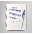 Spiral notebook and white ballpoint pen vector image