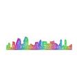 San Diego skyline silhouette - multicolor line art vector image