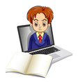 An angry man inside the laptop with a notebook in vector image