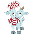 Christmas goat hold on the horn symbol 2015 vector image