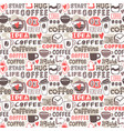 hand drawn coffee badge seamless patterns vector image