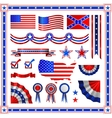 Red and blue patriotic American badges labels with vector image
