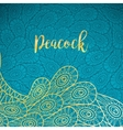 Peacock feathers gold and turqiouse background vector image