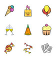 birthday celebration icons set cartoon style vector image vector image