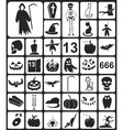 Black Halloween Icons vector image