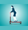 business woman riding scooter vector image