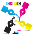 CMYK Pen Symbols Isolated on White vector image