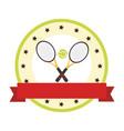 color circular emblem with ribbon and ball and vector image