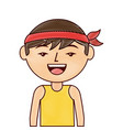 portrait happy cartoon man chinese with head band vector image