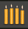 realistic orange glowing candles with melted wax vector image