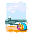 Seashell on the beach vector image
