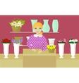 Seller in flower shop vector image vector image