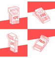 concept set of pack of cigarettes with different vector image