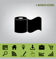 toilet paper sign  black icon at gray vector image