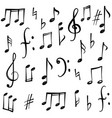 music notes signs set hand drawn music symbol vector image