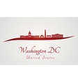 Washington DC skyline in red and gray background vector image vector image