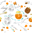 seamless wallpaper with jar of honey vector image vector image