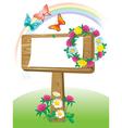 Summer wooden notice board vector image