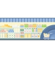 Supermarket showcase with household essentials vector image