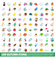 100 autumn icons set isometric 3d style vector image